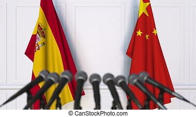 conférence, drapeaux, porcelaine, espagne, presse, international, réunion, ou, négociations