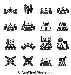 conférence, et, business, icône