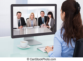 conférence, femme affaires, vidéo, regarder