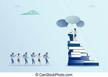 conférence, femme, groupe, business, mener, businesspeople, parole, devant, tribune, réunion, séminaire