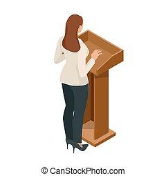 conférence, femme, illustration., business, donner, présentation, vecteur, tribune, orateur, setting., réunion, ou, parler