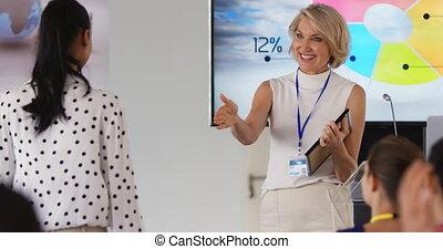 conférence, femme, présentation, business, orateur,...