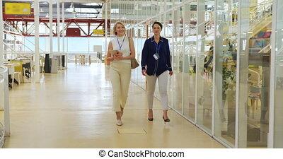conférence, femmes affaires, marche
