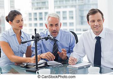 conférence, gens, avoir, business, ensemble