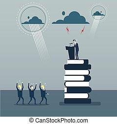 conférence, groupe, business, mener, businesspeople, frint, gai, parole, tribune, réunion, séminaire, homme