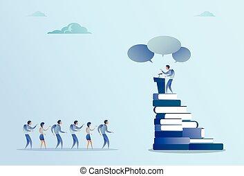 conférence, groupe, business, mener, businesspeople, parole, devant, tribune, réunion, séminaire, homme