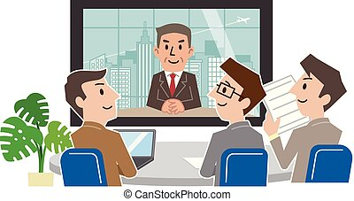 conférence, groupe, businesspeople, vidéo, salle réunion, avoir