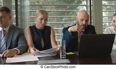conférence, groupe, professionnels, démarrage, réunion, salle