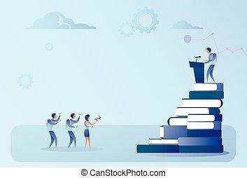 conférence, groupe, professionnels, mener, gai, parole, devant, tribune, réunion, séminaire, homme