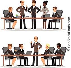 conférence, hall., affaires femme, caractère, vecteur, costume., ensemble, riche, illustrations, table, homme