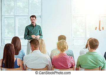 conférence, hall., orateur, réunion affaires
