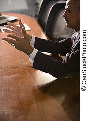 conférence, homme affaires, américain, table, africaine, converser
