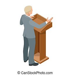 conférence, illustration., business, donner, présentation, vecteur, tribune, orateur, setting., réunion, ou, parler, homme