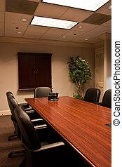 conférence, incliné, table, salle, téléphone