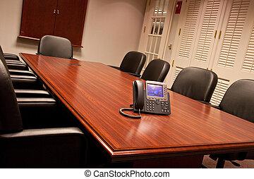 conférence, incliné, table, téléphone affaires