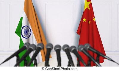 conférence, inde, drapeaux, international, presse, porcelaine, réunion, ou, négociations