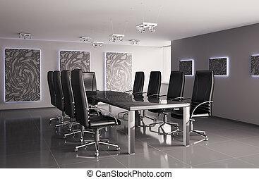 conférence, intérieur, salle, 3d
