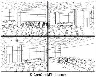 conférence, intérieur, salle