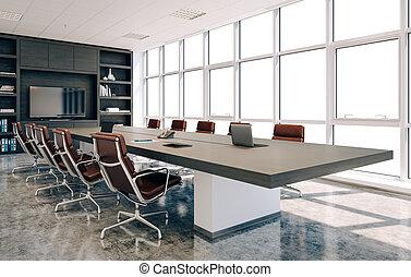 conférence, intérieur, salle moderne, 3d