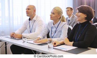 conférence, international, heureux, equipe affaires