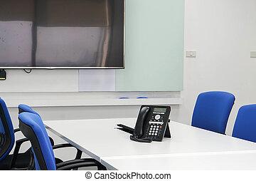 conférence, ip, téléphone, salle réunion, table, réunion