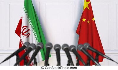 conférence, iran, drapeaux, international, presse, porcelaine, réunion, ou, négociations