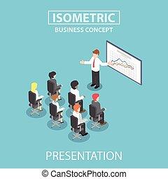 conférence, isométrique, donner, réunion, homme affaires, présentation