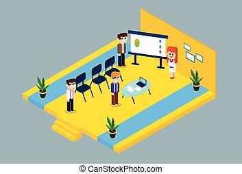 conférence, isométrique, groupe, professionnels, conception, réunion, 3d