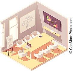 conférence, isométrique, salle, bureau, vecteur, intérieur