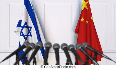 conférence, israël, porcelaine, drapeaux, presse, international, réunion, ou, négociations