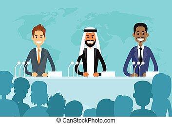 conférence, mélange ethnique, dirigeants, international, président, course