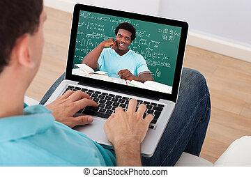conférence, math's, assister, ligne, maison, homme