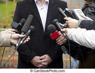 conférence, microphones, journalisme, réunion affaires