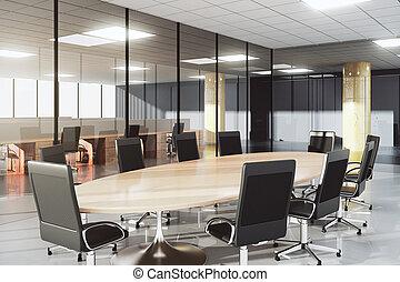 conférence, moderne, ensoleillé, salle, bureau