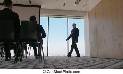 conférence, orateur, salle, business, venir