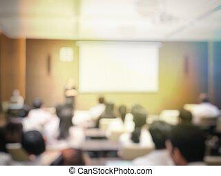 conférence, partage, projecteur, professionnels, image, séance, profession, idée, brouillé, contenu, orateur, présentation, activity., education, écran, séminaire, salle