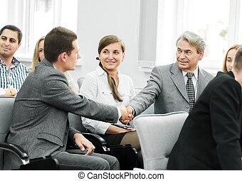 conférence, Partenaires, salle,  Business, secousse, mains