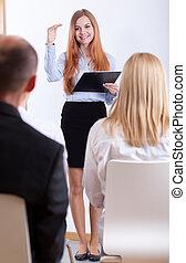 conférence, pendant, entretien travail