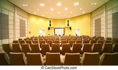 conférence, peu, gens, salle, asseoir