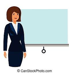 conférence, plat, concept, business, femme affaires, isolé, illustration, vecteur, fond, blanc, dessin animé