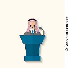 conférence, plat, dirigeants, illustration, vecteur, international, presse, président, arabe