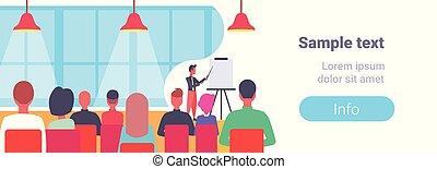 conférence, plat, formation, concept, business, pointage, espace, réunion, graphique chiquenaude, cours, équipe, homme affaires, horizontal, copie, présentation, éditorial, homme