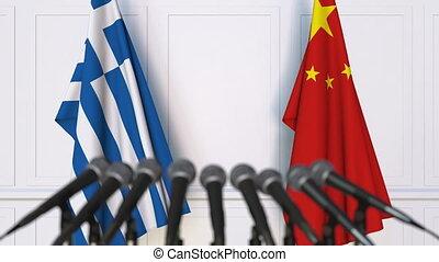 conférence, porcelaine, drapeaux, grèce, presse, international, réunion, ou, négociations