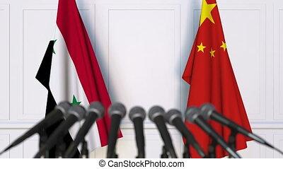 conférence, porcelaine, drapeaux, syrie, presse, international, réunion, ou, négociations