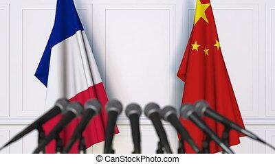 conférence, porcelaine, france, drapeaux, presse, international, réunion, ou, négociations