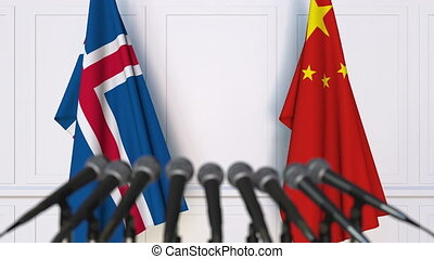 conférence, porcelaine, islande, drapeaux, presse, international, réunion, ou, négociations