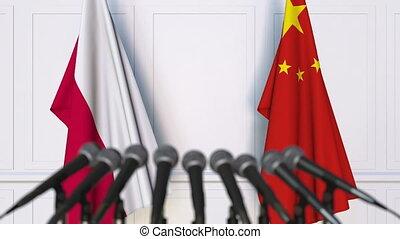 conférence, porcelaine, pologne, drapeaux, presse, international, réunion, ou, négociations