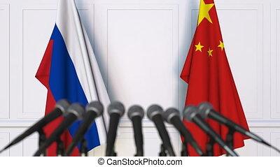 conférence, porcelaine, russie, drapeaux, presse, international, réunion, ou, négociations