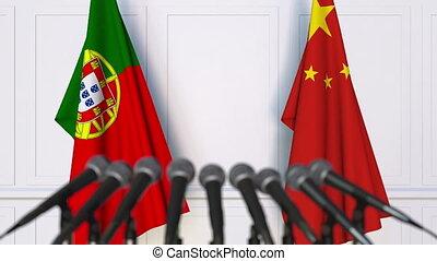 conférence, portugal, drapeaux, porcelaine, presse, international, réunion, ou, négociations