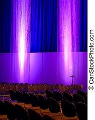 conférence, pourpre, couleurs, bleu, salle